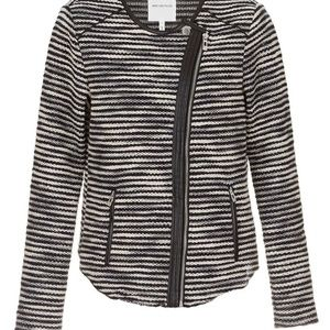 Avec Les Filles Sweaters - New Avec Les Filles Striped Knit Moto Sweater Sz M